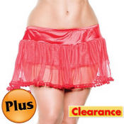 Adult Red PomPom Petticoat Plus Size