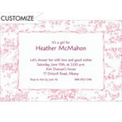 Pink Baby Toile Custom Baby Shower Invitation