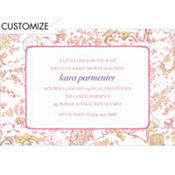Pink & Green Toile Custom Baby Shower Invitation