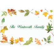 Autumn Leaves Border Custom Thank You Note