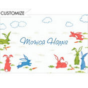 Frolicking Bunny Rabbits Custom Baby Shower Thank You Note