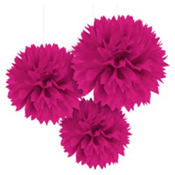 Bright Pink Fluffy Decorations 16in 3ct