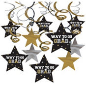 Black, Silver & Gold Graduation Swirl Decorations 30ct