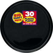 Black Plastic Lunch Plates 30ct