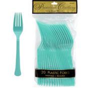 Robin's Egg Blue Premium Plastic Forks 20ct