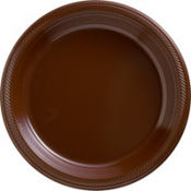 Chocolate Brown Plastic Dinner Plates 50ct
