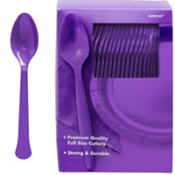 Purple Premium Plastic Spoons 100ct