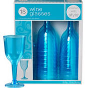 Caribbean Blue Premium Plastic Wine Glasses 18ct