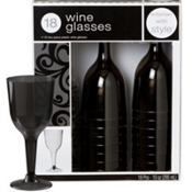 Black Premium Plastic Wine Glasses 18ct