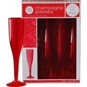 Red Premium Plastic Champagne Flutes 18ct