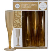 Gold Premium Plastic Champagne Flutes 18ct