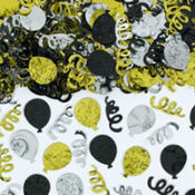 Party Balloons Black, Silver and Gold Confetti 2 1/2oz
