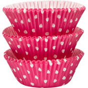 Bright Pink Polka Dots Baking Cups 75ct