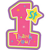 Hugs & Stitches Girl's 1st Birthday Thank You Notes 8ct