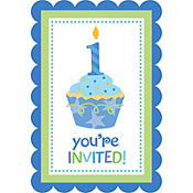 Sweet Little Cupcake Boy Invitations 8ct