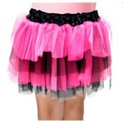 Girls Fuchsia and Black Tulle Skirt