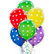 Latex Primary Polka Dots Printed Balloons 12in 20ct