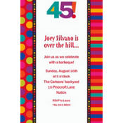Birthday Dots & Stripes 45 Custom Invitation