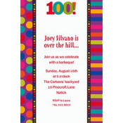 Birthday Dots & Stripes 100 Custom Invitation