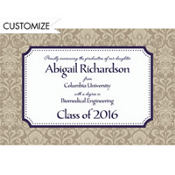 Navy Classic Damask Border Custom Graduation Announcement