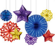 Multicolor New Years Foil Starburst Decorations 8ct