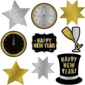 New Years Glitter Cutouts 9ct