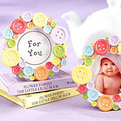 Cute As A Button Round Photo Frame Baby Shower Favor