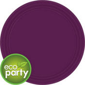 Eco Friendly Plum Round Paper Lunch Plates 9in 24ct