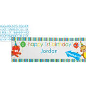 Sweet At One Boys 1st Birthday Banner with Stickers 5ft x 20in