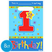Hugs & Stitches Boy 1st birthday Favor Bags 8ct