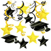 Yellow Graduation Swirl Decorations 30ct