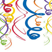 Rainbow Hanging Swirl Decorations 22in 12ct