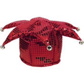 Red Sequined Jester Hat