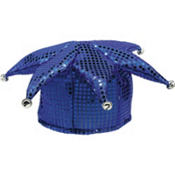 Blue Sequined Jester Hat