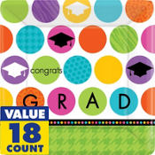 Colorful Commencement Square Dinner Plates 18ct