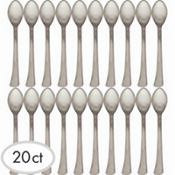 Silver Finish Plastic Mini Spoons 4in 20ct