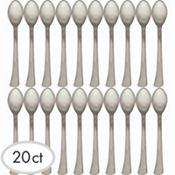 Mini Silver Finish Plastic Spoons 20ct