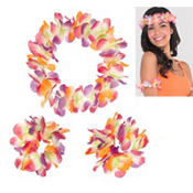 Warm Serendipity Head & Wrist Flower Lei Set 3pc