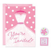 Pink Dress Bridal Shower Invitations Kit 8ct
