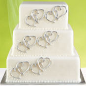Double Hearts Cake Decorations 6ct