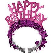 Pink Fringe Happy Birthday Tiara