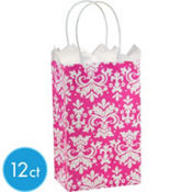 Pink Brocade Mini Gift Bags 12ct