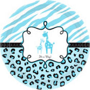 Blue Safari Baby Shower Dinner Plates 18ct