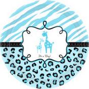 Blue Safari Baby Shower Dinner Plates 18ct