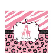 Pink Safari Baby Shower Lunch Napkins 36ct