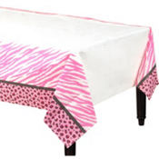 Pink Safari Baby Shower Table Cover 54in x 102in