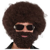 Brown Afro Facial Hair Set