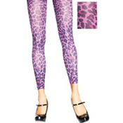 Adult Purple Leopard Footless Tights