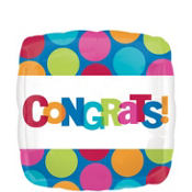Foil Cabana Polka Dot Congratulations Balloon 18in