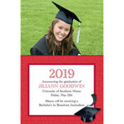 Red Congrats Grad Custom Photo Announcement
